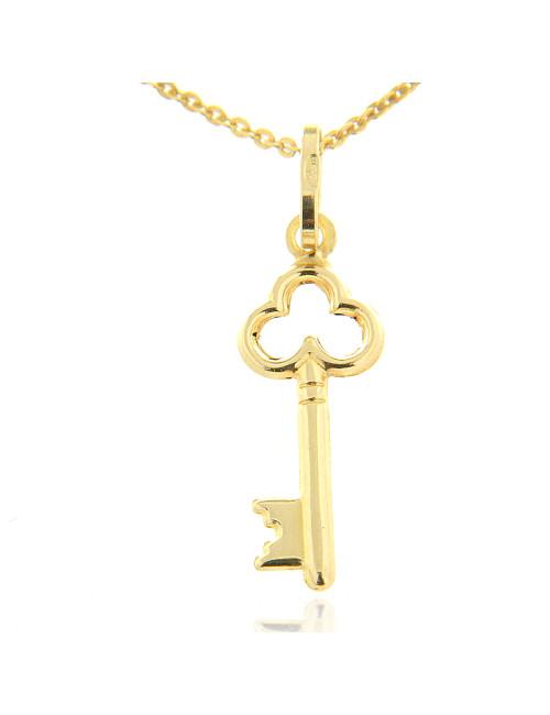 pendentif clef or jaune avec chaine