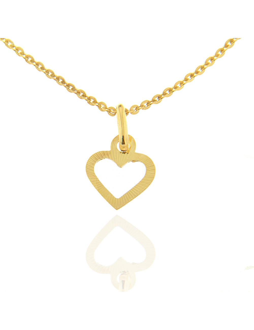 pendentif coeur striée femme enfants or jaune