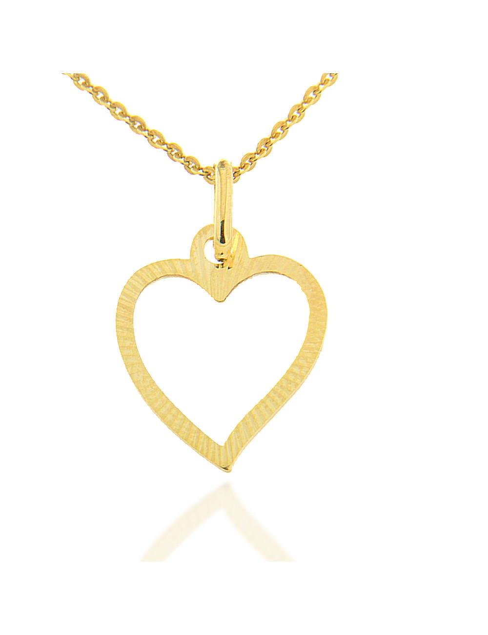pendentif or jaune coeur avec chaine femme