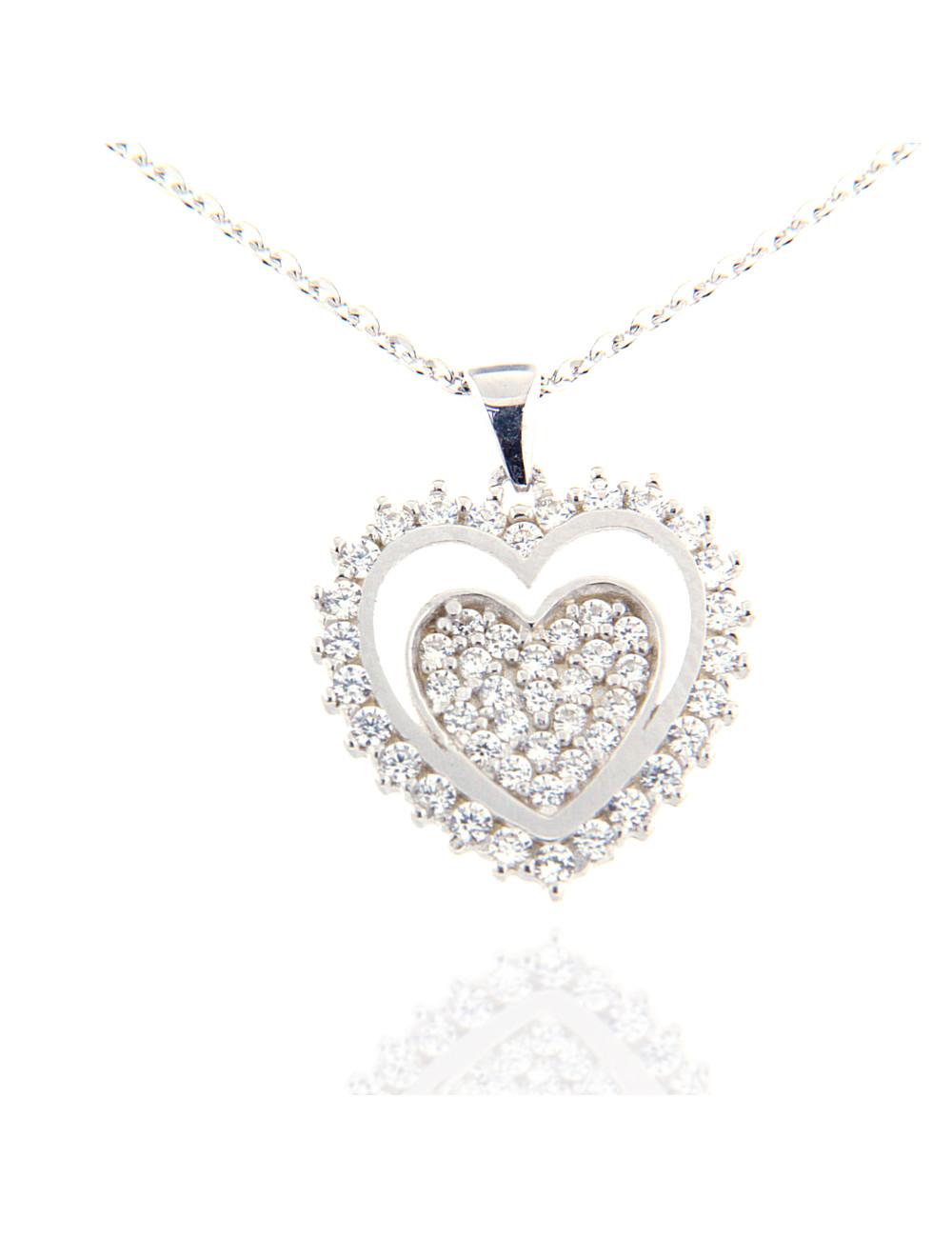 pendentif or blanc petit coeur