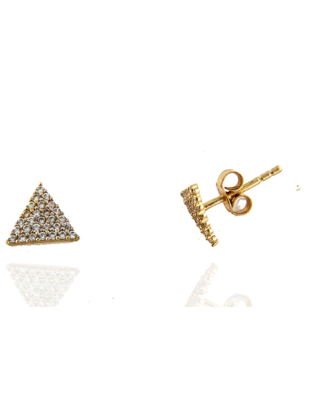 Boucles D'Oreilles Triangle Or & Zirconium