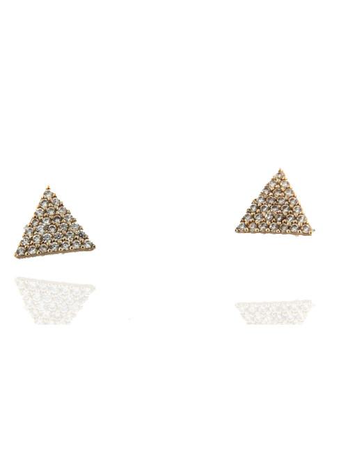 Boucles D'Oreilles Triangle Or Jaune & Zirconium