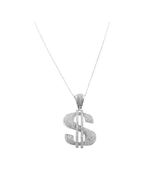 Pendentif Dollar argent et zirconium