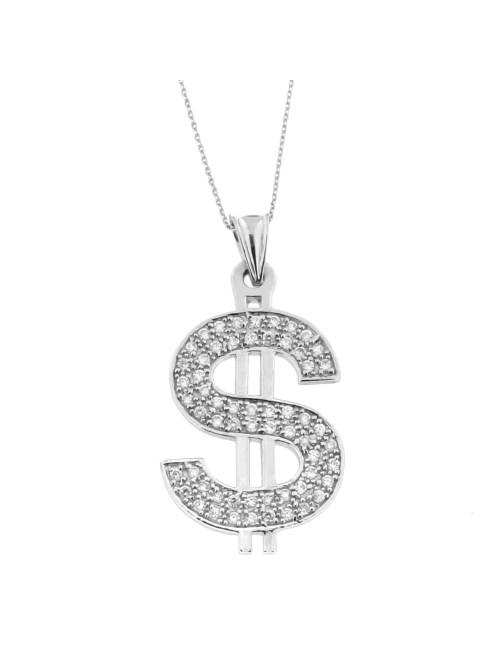 Pendentif Dollar argent et zirconium + Chaine