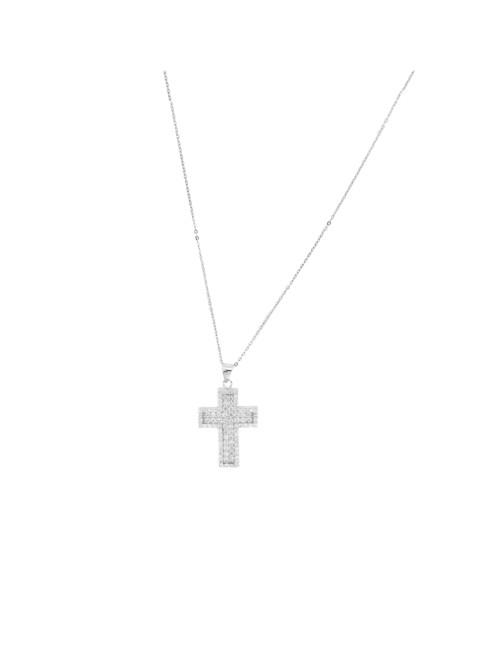 Pendentif croix argent et zirconium + Chaine