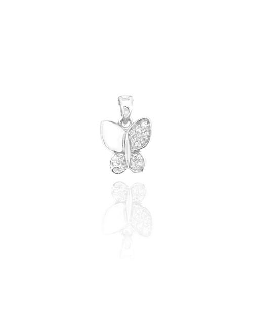 Pendentif Papillon Argent et Zirconium