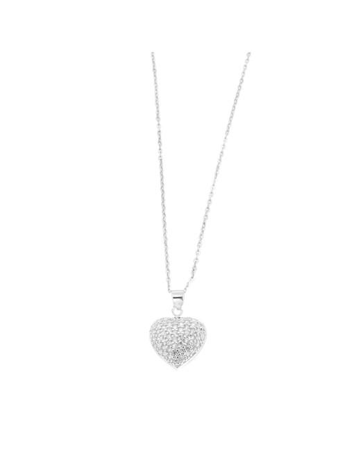 Pendentif Coeur argent et zirconium + Chaine