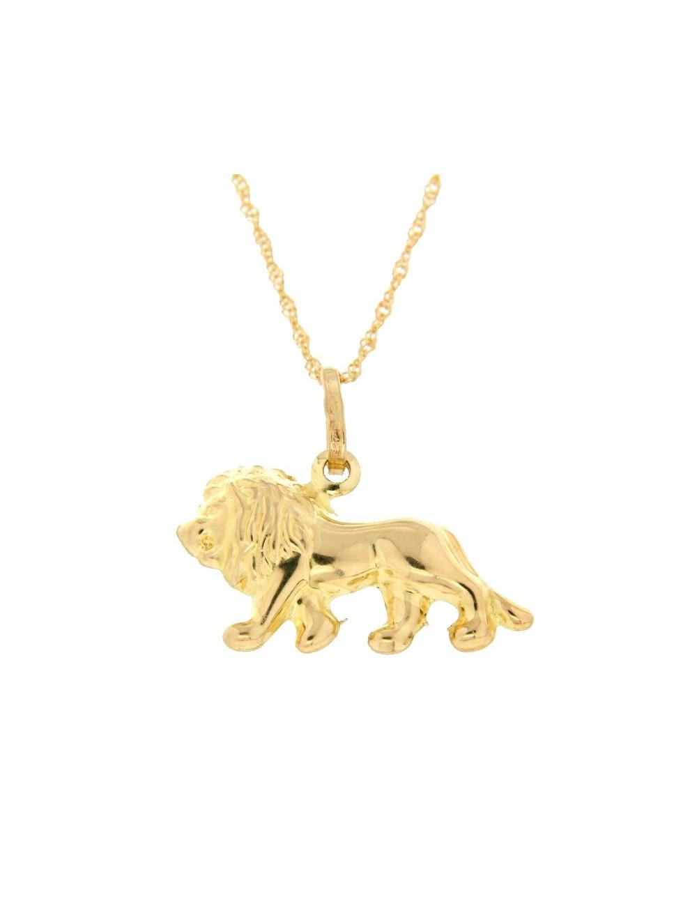 Pendentif Lion Or Jaune 18 Carats + chaine